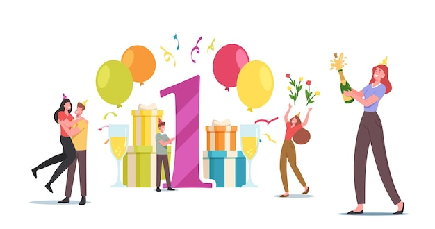 Kochająca para postaci męskiej i żeńskiej świętuj rocznicę jeden rok razem. uroczystość przyjęcia młodego mężczyzny i kobiety