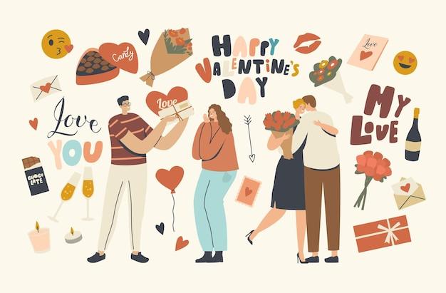Kochająca para postaci świętuj walentynki, mężczyzna dający pocztówkę serca i bukiet kwiatów dziewczynie. stosunki międzyludzkie, miłość, romantyczna koncepcja randkowa walentynki. ilustracja wektorowa ludzi liniowych