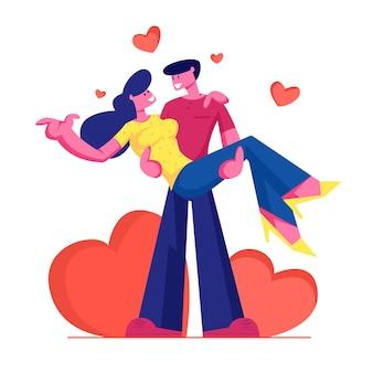 Kochająca para romantyczne relacje. mężczyzna trzyma kobietę na rękach z czerwonymi sercami dookoła. płaskie ilustracja kreskówka