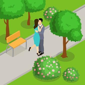 Kochająca para w parku izometryczny projekt