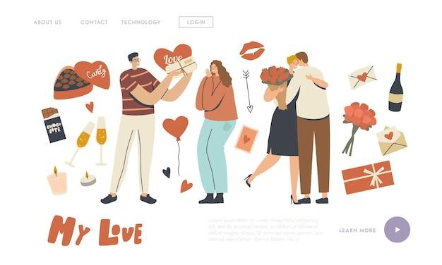 Kochająca para znaków świętuj szablon strony docelowej walentynki. mężczyzna daje dziewczynie serce i bukiet. relacja miłości człowieka, romantyczna koncepcja randki walentynki. ilustracja wektorowa ludzi liniowych