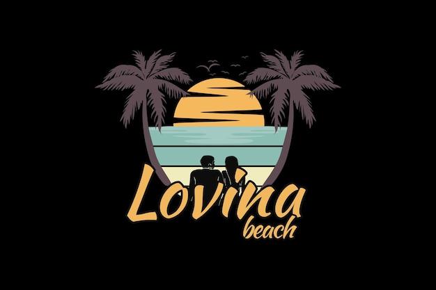 Kochająca plaża, zaprojektuj śliski styl retro