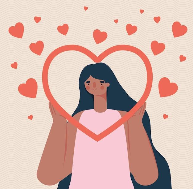 Kochający kartel kobiet z sercami
