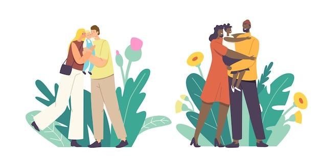 Kochający rodzice całują dziecko. matka i ojciec kaukaskie i afrykańskie znaki etniczne trzymając dziecko na rękach, przytulanie i całowanie wyrażają miłość i czułość. ilustracja wektorowa kreskówka ludzie