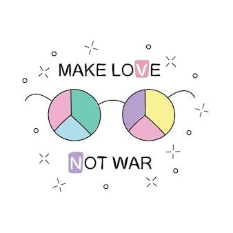 Kochajcie się zamiast czynić wojnę. okulary przeciwsłoneczne tęczowe hippie ze znakiem pokoju. ilustracja wektorowa na białym tle. projekt koszulki i nadruków