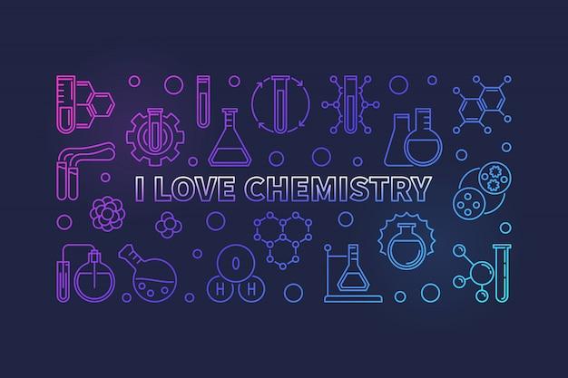 Kocham chemię zarys kolorowy poziomy baner
