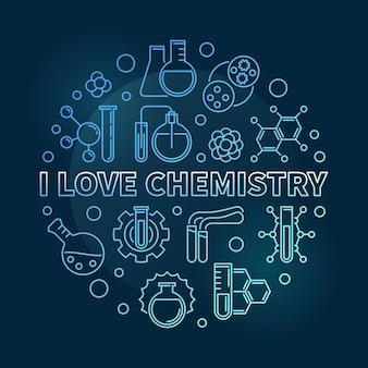 Kocham chemii niebieski koncepcja liniowy okrągły ilustracja