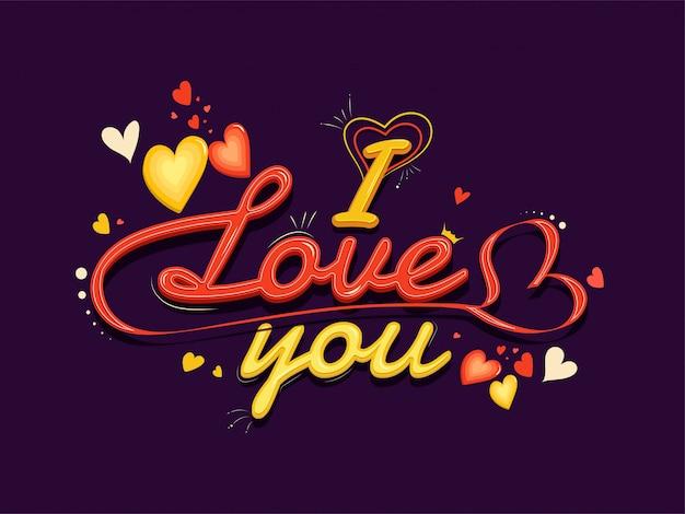 Kocham cię czcionka ozdobiona serca