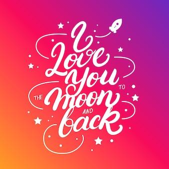 Kocham cię do księżyca i odręcznie napisany plakat.