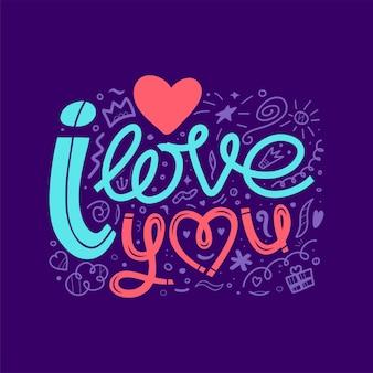 Kocham cię, doodle ilustracji. ręcznie rysowane napis, inspirujące cytaty za znak mes