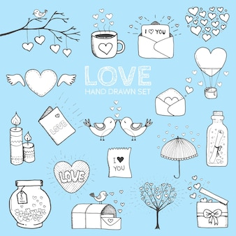Kocham cię doodle zestaw ikon na białym tle, wektor ilustracja wyciągnąć rękę.