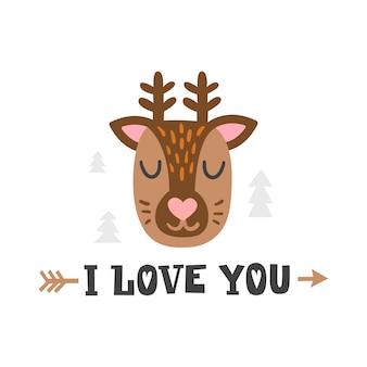 Kocham cię. głowa jelenia i romantyczny ręcznie rysowane cytat. kartkę z życzeniami na szczęśliwy walentynki. ładny plakat szablon dla dzieci. karty zoo dla dzieci.
