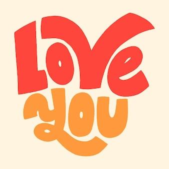 Kocham cię handdrawn napis typografia cytat o miłości na walentynki i wesele