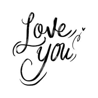 Kocham cię kaligrafia napis typografii
