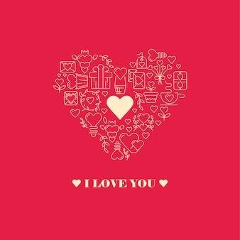 Kocham cię kartka w kształcie serca z dużą ramką w kształcie serca składającą się z elementów