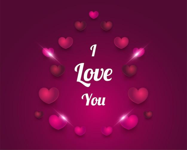 Kocham cię kartkę z życzeniami z sercem 3d