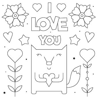 Kocham cię. kolorowanka. czarny i biały