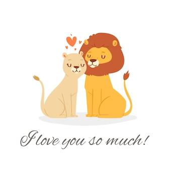 Kocham cię lew napis ilustracja. śliczna szczęśliwa para lwa siedzi razem z różowymi kochającymi sercami na romantyczną randkę. karta celebracja walentynki na białym tle