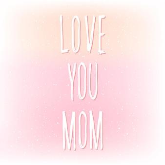 Kocham cię mamo. odręczny napis i ręcznie robiona miękka różowa okładka z siatki na projekt karty dnia matki, zaproszenia, koszulki, książki, banera, plakatu, albumu, albumu itp.