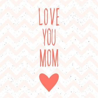 Kocham cię mamo. odręczny napis i ręcznie robione różowe serce do projektowania kartki na dzień matki, zaproszenia, koszulki, książki, banera, plakatu, albumu, albumu itp.