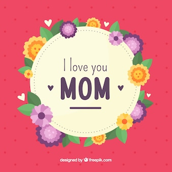 Kocham cię mamo płaskie tło