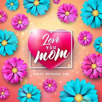 Kocham cię mamo. projekt karty z pozdrowieniami szczęśliwy dzień matki z kwiatem i list typografii w sercu