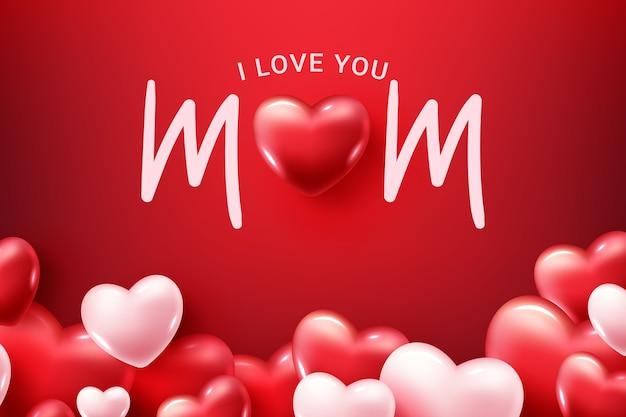 Kocham cię mamo! szczęśliwego dnia matki! kartka z życzeniami