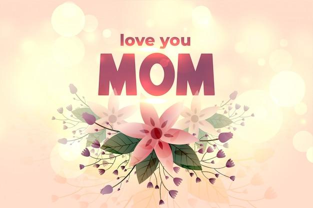 Kocham cię mamo szczęśliwy dzień matki kwiat powitanie