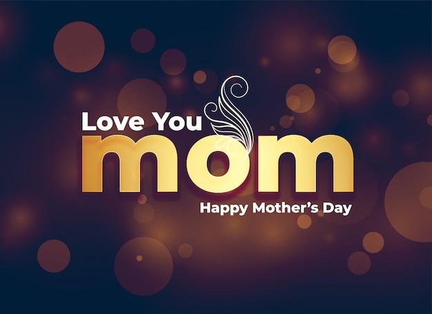 Kocham cię mamo wiadomość na tle szczęśliwy dzień matki