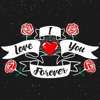 Kocham cię na zawsze. cytat literowanie sztuki typografii z czarnym