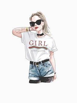 Kocham cię na zawsze hasło z mody dziewczyna w okularach przeciwsłonecznych ilustracyjnych