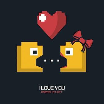Kocham cię, naciśnij start z grafiką gry pacman