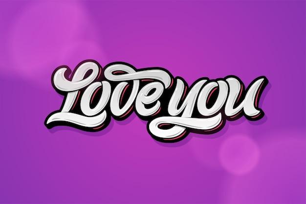 Kocham cię napis na ciemnoliliowym tle na walentynkowe kartki okolicznościowe