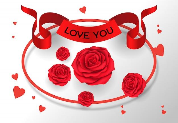 Kocham cię napis na wstążce z róż