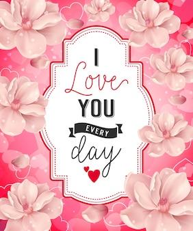 Kocham cię napis z kwiatami