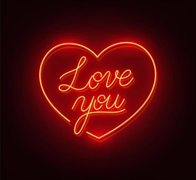 Kocham cię neon znak na czarnym tle ilustracji