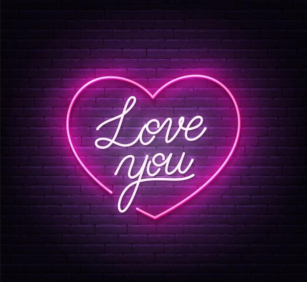 Kocham cię neon znak na ilustracji tle ceglanego muru