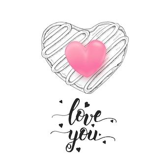 Kocham cię - odręczny motywacyjny cytat, ręcznie rysowane doodle pączek na białym tle na białe i 3d różowe serce.
