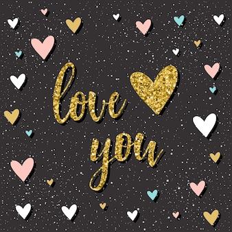 Kocham cię. odręczny napis i doodle ręcznie rysowane serce na projekt koszulki, karty ślubne, zaproszenia ślubne, plakat walentynkowy, romantyczne broszury, notatnik, album itp. złoto tekstury.