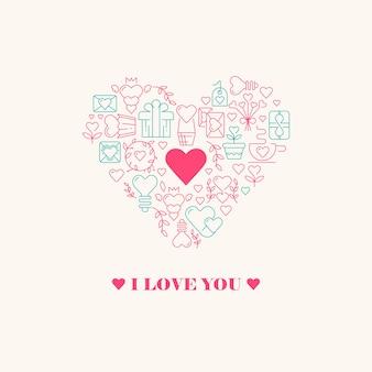 Kocham cię plakat z trzema słowami, wielkim sercem w środku z małym serduszkiem w środku i wieloma pięknymi ilustracjami wektorowymi