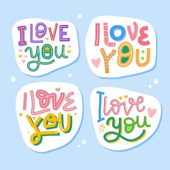 Kocham cię ręcznie rysowane napis inspirujący i motywujący cytat