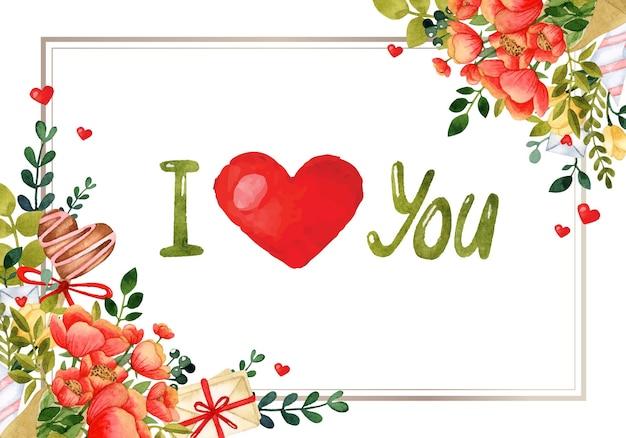 Kocham cię romantyczną ramkę akwarela zaproszenie