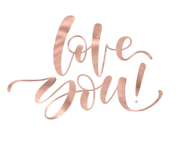 Kocham cię. romantyczny napis z nowoczesnym ręcznym pisaniem kaligraficznym