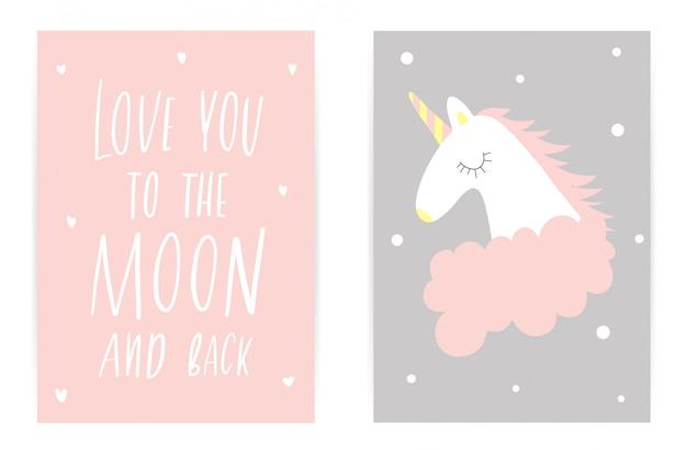 Kocham cię tak mocno jak stąd do księżyca i z powrotem. różowy szary jednorożec