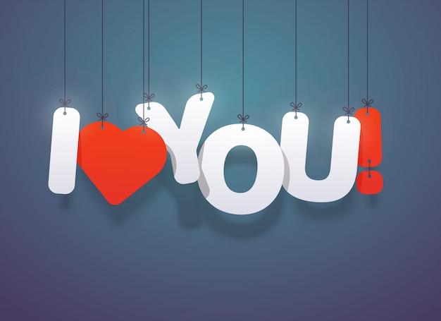 Kocham cię tekst z sercem. ilustracja.