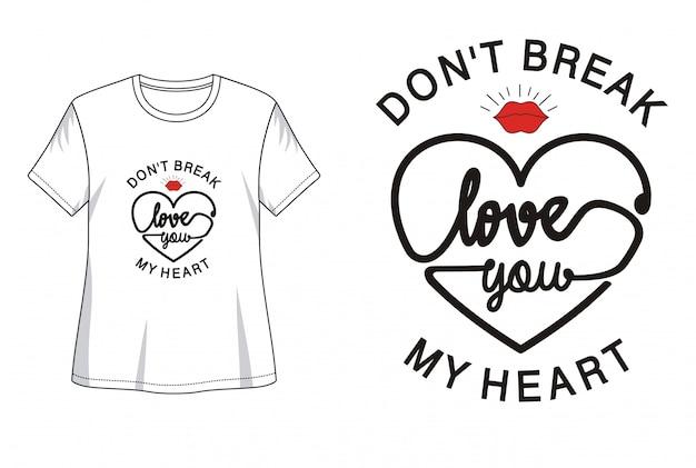 Kocham cię typografia do druku t shirt