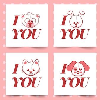 Kocham cię. walentynki kartkę z życzeniami z różnych uroczych zwierzątek