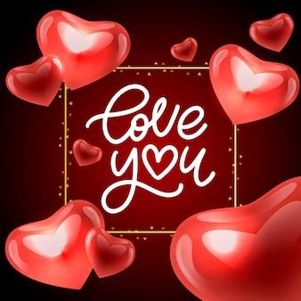 Kocham cię. walentynki pozdrowienia kaligrafii. ręcznie rysowane projekt