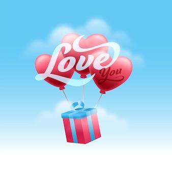 Kocham cię wiadomość czcionki z pudełkiem 3d i balonami serca na błyszczącym niebieskim tle nieba.