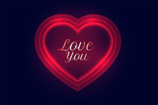 Kocham cię wiadomość w świecącym czerwonym tle neon serca
